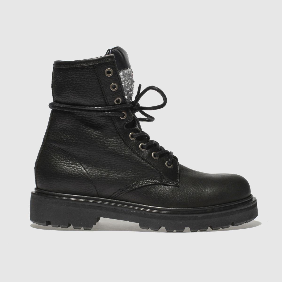 Tommy Hilfiger Black Big Flag Sparkle Boots
