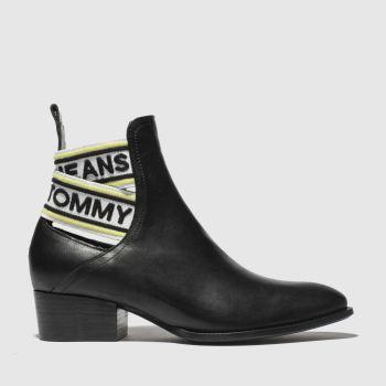 Tommy Hilfiger Black & White Tj Pop Webbing Chelsea Womens Boots