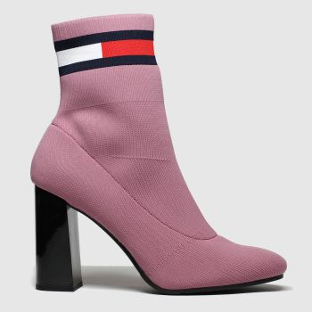 Tommy Hilfiger Pink Sock Heeled Womens Boots