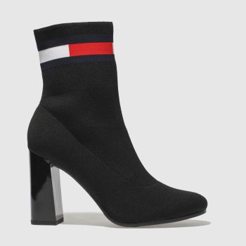 Tommy Hilfiger Black Sock Heeled Womens Boots