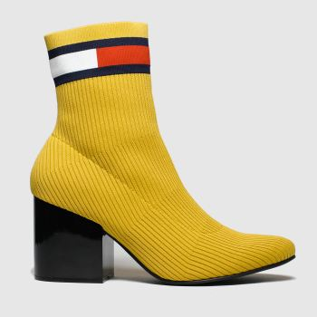 Tommy Hilfiger Yellow Flag Sock Mid Heel Womens Boots