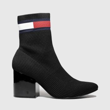 Tommy Hilfiger Black Flag Sock Mid Heel Womens Boots
