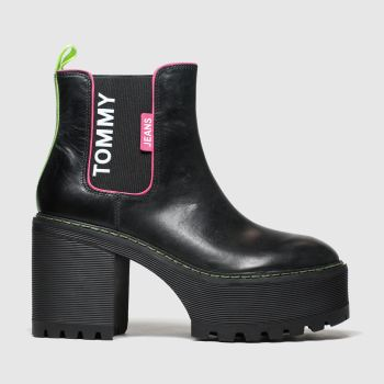 Tommy Hilfiger Black & pink Tj Chelsea Cleated Heeled Womens Boots
