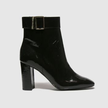 Tommy Hilfiger Black Patent Sqaure Toe Boot Womens Boots