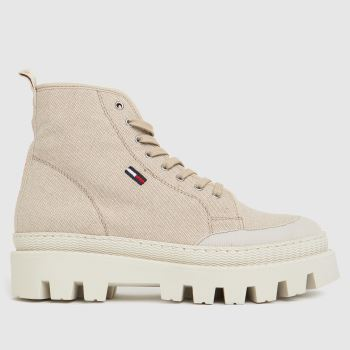 Tommy Hilfiger Beige Flat Womens Boots