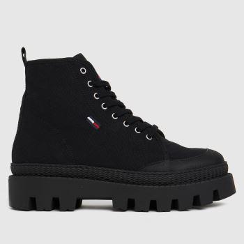 Tommy Hilfiger Black Flat Womens Boots