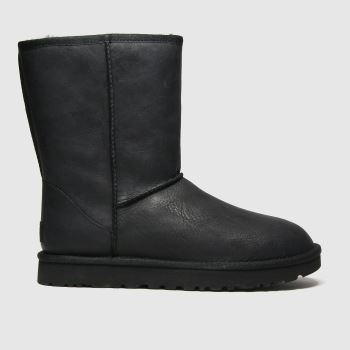 UGG Black Classic Short Ii Leather Womens Boots#