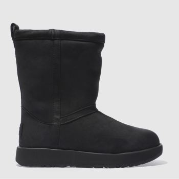 Ugg Black Classic Short Leather Wp Womens Boots