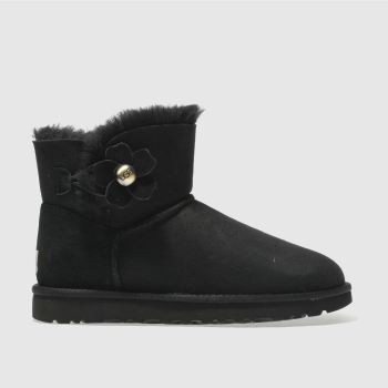 Ugg Black Mini Bailey Button Poppy Womens Boots