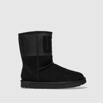 Ugg Black Classic Short Rubber Womens Boots