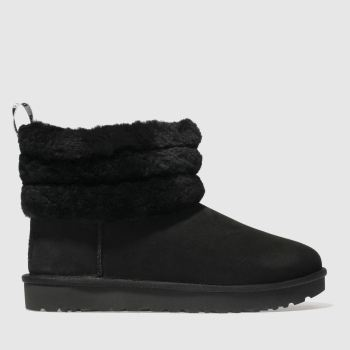 Ugg Black Fluff Mini Quilted Womens Boots