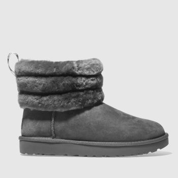 Ugg Grey Fluff Mini Quilted Womens Boots