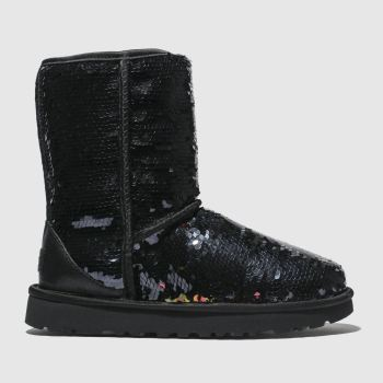 Ugg Black Classic Short Sequin Womens Boots