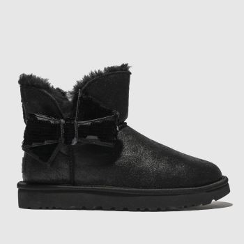 Ugg Black Mini Sequin Bow Womens Boots