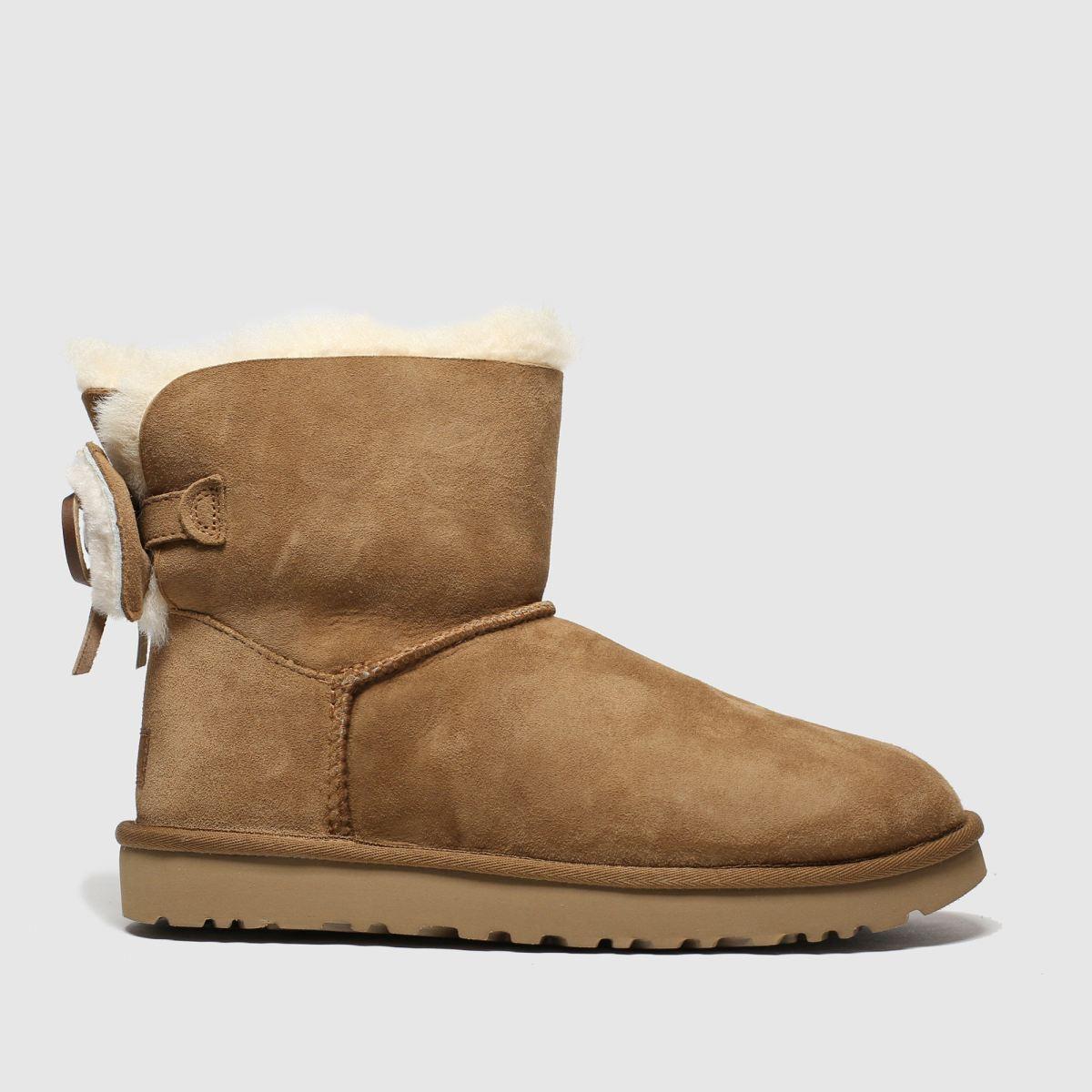 Ugg Tan Classic Double Bow Mini Boots