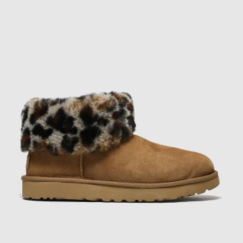 Ugg Brown & Black Classic Mini Fluff Womens Boots