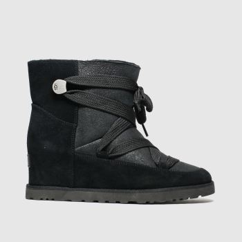Ugg Black Classic Femme Lace Up Womens Boots