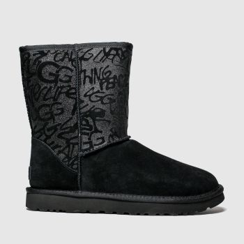 UGG Black Classic Short Sparkle Graffiti Womens Boots