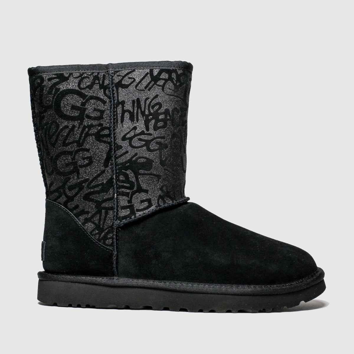 Ugg Black Classic Short Sparkle Graffiti Boots