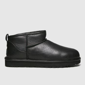 UGG Schwarz Classic Ultra Mini Leather Damen Boots