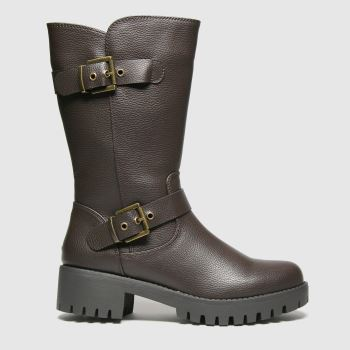 schuh Brown Dragon Buckle Biker Womens Boots