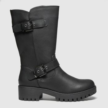 schuh Black Dragon Buckle Biker Womens Boots#