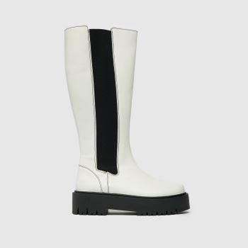schuh White Danika Chunky Elastic Knee Boo Womens Boots