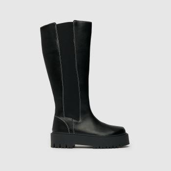 schuh Black Danika Chunky Elastic Knee Womens Boots