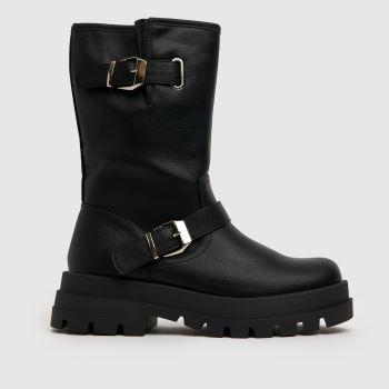 schuh Black Dani Buckle Biker Womens Boots