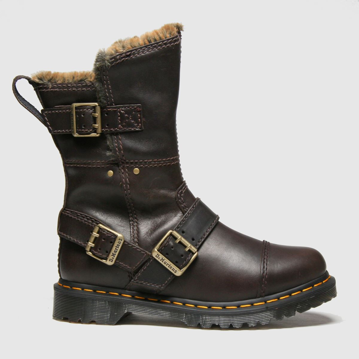 Dr Martens Brown Kristy Mid Fur Lined Boots