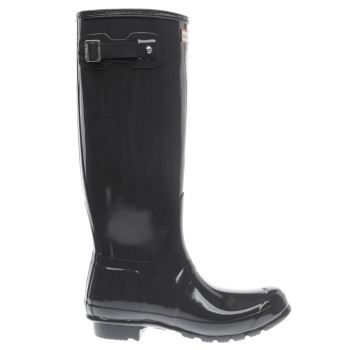 Hunter Dark Grey Original Tall Gloss Womens Boots