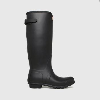 Hunter Black Original Tall Back Adjustable Womens Boots