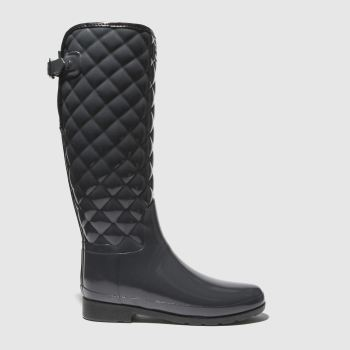 Hunter Dark Grey Refined Gloss Quilt Tall Womens Boots
