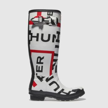 Hunter White & Red Orginal Tall Exploaded Logo Womens Boots