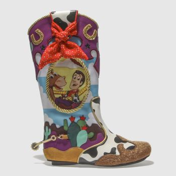 IRREGULAR CHOICE BLUE & YELLOW RIDE LIKE THE WIND BOOTS