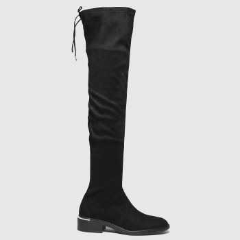 schuh Black Danni Flat Over The Knee Womens Boots