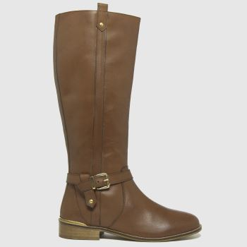 schuh Tan Darlene Leather Riding Womens Boots