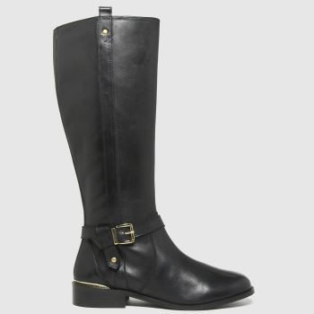 schuh Black Darlene Leather Riding Womens Boots