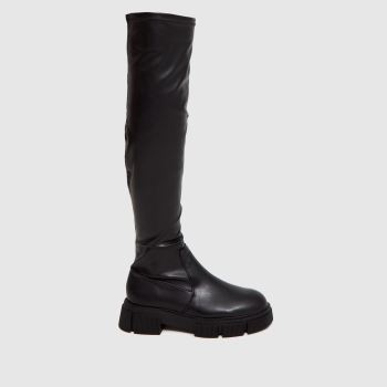 schuh Black Dixie Stretch Over The Knee Womens Boots