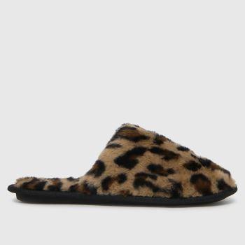 schuh Beige & Brown Holly Faux Fur Mule Womens Slippers