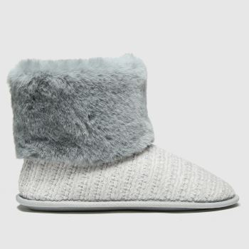 schuh Grey Hannah Faux Fur Slipper Womens Slippers