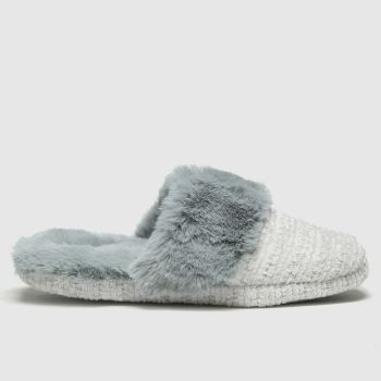 schuh Grey Harper Faux Fur Mule Womens Slippers#