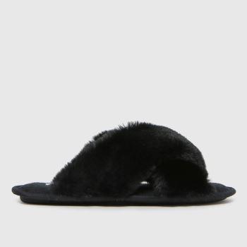 schuh Black Haiden Faux Fur Cross Strap Womens Slippers