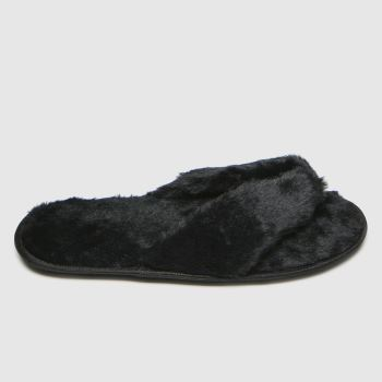 schuh Black Hope Faux Fur Womens Slippers