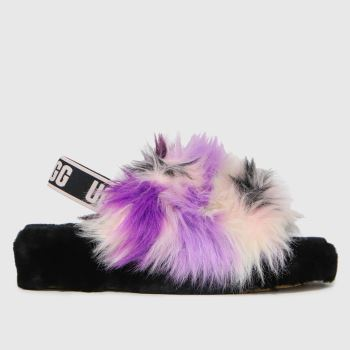 UGG Black & Purple Fluff Yeah Tie Dye Womens Slippers