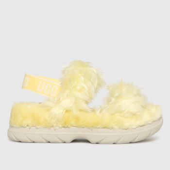 UGG Yellow Fluff Sugar Sandal Womens Slippers