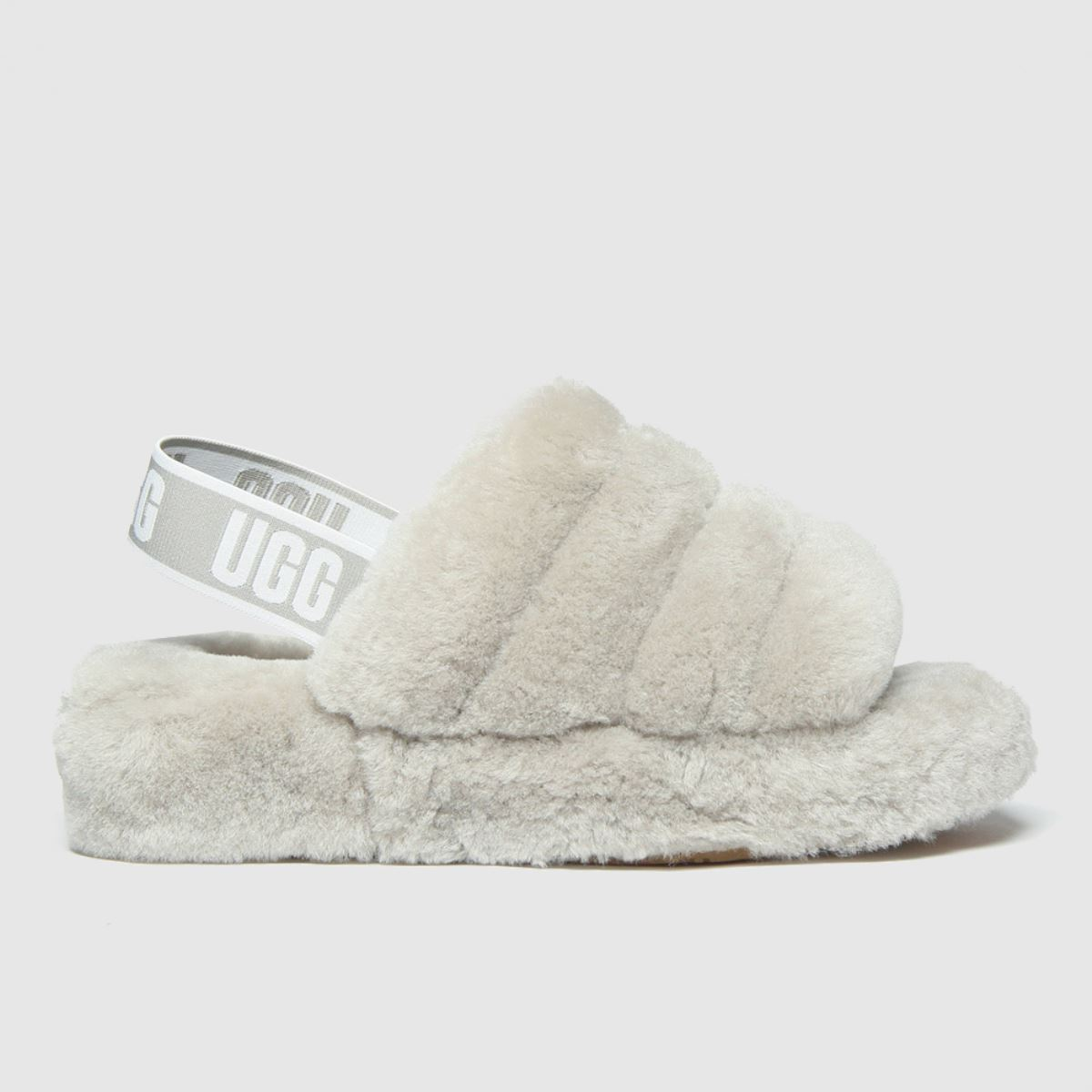 UGG Light Grey Fluff Yeah Slide Slippers