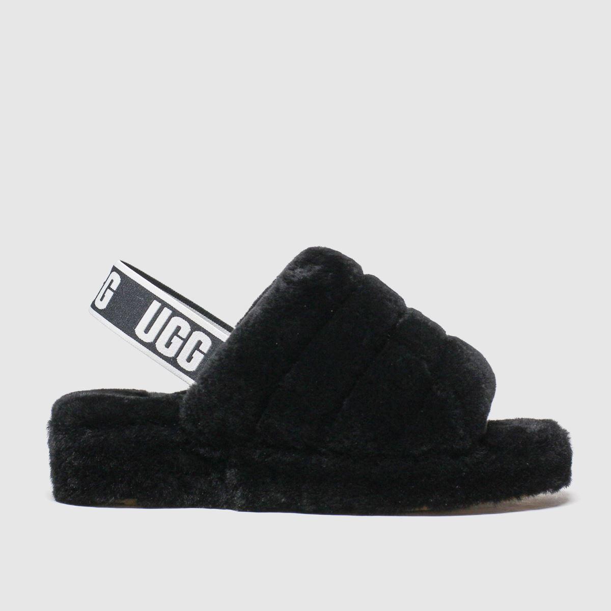 UGG Black Fluff Yeah Slide Slippers | UK 8