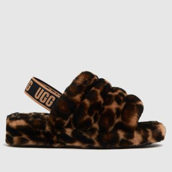 UGG Black & Brown Fluff Yeah Panther Womens Slippers