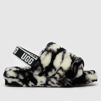 UGG Black & White Fluff Yeah Marble Womens Slippers